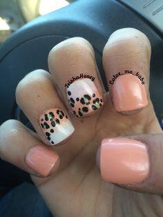Cute nails, leopard nails, coral nails, peach nails, gradient nails, white nails, girly nails, fake nails, short nails