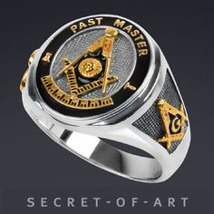 MASONIC RING PAST MASTER - STERLING SILVER 925, 24K-GOLD-PLATED, VERY FINE WORK #SecretofArt #Masonic