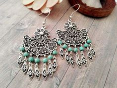 Your place to buy and sell all things handmade Tribal Earrings, Turquoise Earrings, Turquoise Jewelry, Boho Jewelry, Silver Earrings, Silver Filigree, Antique Silver, Chandelier Earrings, Boho Chic