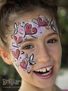 Valentine's Day Heart Swirls Face Paint