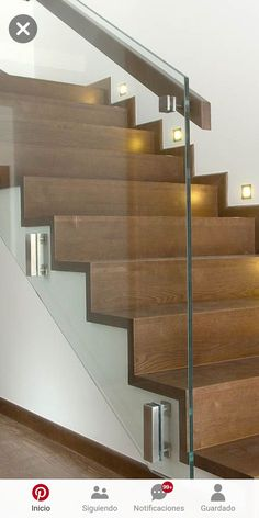 Glass handrail Modern Staircase Glass handrail – Famous Last Words Modern Stair Railing, Staircase Handrail, Stair Railing Design, Home Stairs Design, Modern Stairs, Interior Stairs, Railing Ideas, Spiral Staircases, Banisters