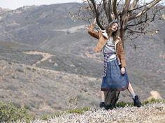 Shear Genius Jacket, Vintage Garden State Sweatshirt, Lumberjill Top, Vintage Tracy Lowe Fiona Silk Dress, Cozy Up Socks & Jeffrey Campbell Nirvana Boot #nastygalvintage #fall