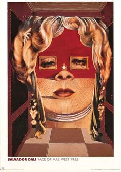 A fantastic poster of the Salvador Dali painting Face of Mae West! A masterpiece of Surrealist Art. Published 2003. Fully licensed. Ships fast. 24x36 inches.
