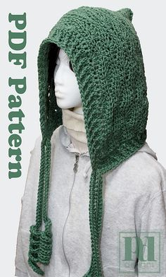Ravelry: Hoodie Hat with Curly-Q Ties pattern by Pamela Dempsey