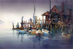 Foggy Morning - Maine. Thomas W Schaller. Watercolor. 22x30 Inches - 04 April 2017.