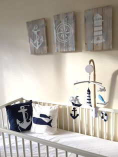 Sam S Nautical Nursery White And Navy Blue Theme Mobile Baby Anchor