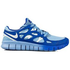Nike Free Run + 2 Ext ($190) ❤ liked on Polyvore featuring shoes, athletic shoes, nike, sneakers, sport, blue, sports fashion, sports shoes, womens-fashion and blue shoes