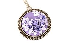 Purple Floral Pendant Necklace with Roses Polymer Clay Flowers Gift for Her Floral Jewelry Feminine Necklace Lilac Pendant Round Pendant