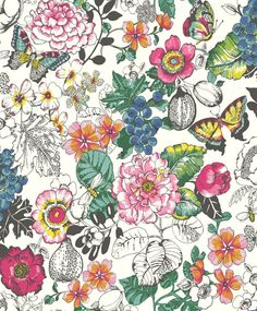 "<p>A bold profusion of flower, butterfly and fruit motifs, mixed to create an all over riot of colour. Design includes figs and butterflies with black glitter detailing. Shown in the bright multi-coloured on white. Please request sample for true colour match. Paste-the-wall product.</p> <p>Repeat - 1.2""</p>"