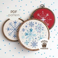 Excited to share the latest addition to my shop: Snowflakes Collection - PDF Embroidery Pattern, Beginner Needlework Pattern, Holiday Gift, Winter Embroidery. DIY by Knack Makings Embroidery Designs, Christmas Embroidery Patterns, Paper Embroidery, Hand Embroidery Stitches, Embroidery Hoop Art, Cross Stitch Embroidery, Snowflake Embroidery, Embroidered Christmas Ornaments, Beginner Embroidery