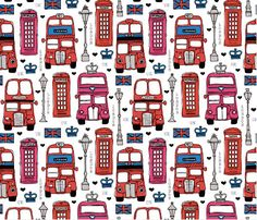 © Little Smilemakers Studio - Maaike Boot Fun London lovers pattern with iconic telephone booth, double decker bus, urban street light, and Union Jack UK flag with small typography detailing. Traditional blue and red color composition. London Icons, London Bus, Telephone Booth, Paper Tags, London Photos, Kids Prints, Printable Paper, Fabric Wallpaper, Union Jack