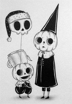Creepy Drawings, Dark Art Drawings, Creepy Art, Art Drawings Sketches, Cool Drawings, Desenhos Halloween, Halloween Art, Cute Halloween Drawings, Arte Sketchbook