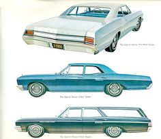 1966 Buick Special Deluxe 2 Door Sedan, 4 Door Sedan And Station Wagon (The middle one is what Betsy was. She was the family car when I was growing up. How I miss her!)