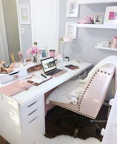Small Office Desk Ideas Southwest Home Decor Office Design Room 20190311 Cozy Home Office, Home Office Space, Home Office Decor, Home Decor, Pink Office Decor, Feminine Office Decor, At Home Office Ideas, White Home Office Furniture, Shabby Chic Office Decor