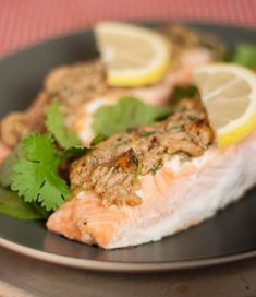 Herby Peanut Butter Crusted Salmon