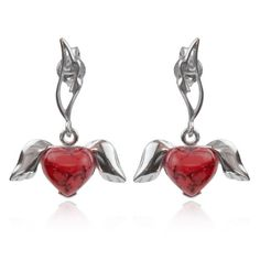 Sterling Silver Red Turquoise Winged Hearts Dangle Earrings