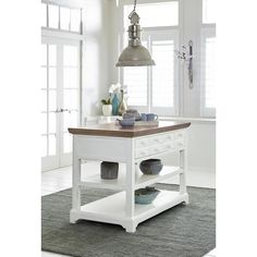 Shutters Island in Light Oak/ Distressed White - Progressive Furniture Island has a convenient full length pull out serving shelf with two open shelves and drawers for storage of all types. This island is finished in a distressed white with a Rolling Kitchen Island, White Kitchen Island, Kitchen Islands, Furniture Deals, Kitchen Furniture, Funky Furniture, Classic Furniture, Furniture Outlet, Furniture Stores