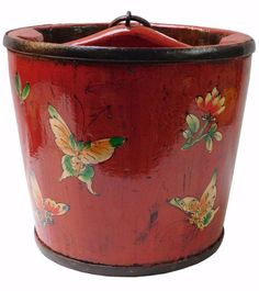 Round Shape Red Color Chinese Butterflies Painted Wood Bucket vs974lS