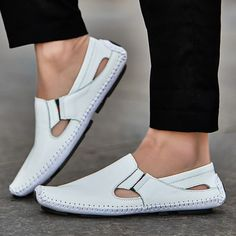 086ef7736a59 Men Leather Driving Shoes Plus Size 45 46 47 Casual Slip-on Summer Shoes 5  Colors Size 38-47