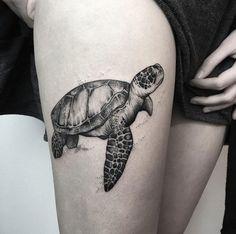Black and grey ink turtle by María Fernández