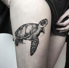Black and grey ink turtle by María Fernández