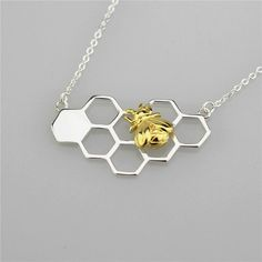 Gold Honey Bee Necklace Sterling Silver Bee by SilverUniqueJewelry