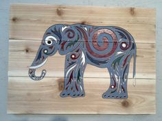 Elephant Rustic Sign / Personalized Sign Distressed Wood/ reclaimed  wood/ Custom Carved Hand Painted Anniversary/ Housewarming Gift