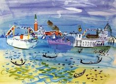 Venise by Raoul Dufy (Churches in Venice) Raoul Dufy, Art Aquarelle, Georges Braque, Art For Art Sake, Manet, Henri Matisse, Renoir, French Artists, Art History