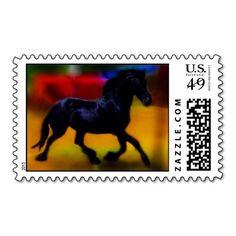 Horse doing dressage postage stamp