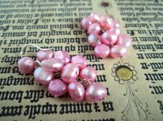 Bright Pink Cascade Pearl Earrings by Lunarpearl on Etsy, $11.00