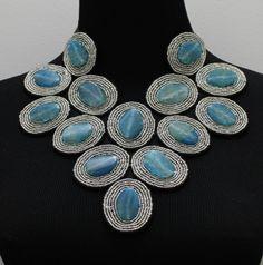 Erlinda Azure statement necklace $139