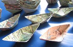 Your place to buy and sell all things handmade Paper Boat Origami, Paper Boats, Old Globe, Atlas Shrugged, Vintage Maps, Map Art, Legos, Typo, Paper Craft