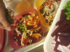 19 Divide the beets and green peas into the salad bowls.