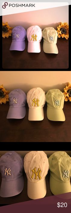 Yankee Hat Bundle ⚾️ Bundle of three New York Yankees baseball hats for girls & ladies...Genuine MLB merchandise....downsizing my collection...all worn once or twice & freshly laundered...white with yellow symbol...perwinkle...and mint green major league baseball Accessories Hats