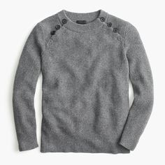 Italian cashmere waffle sweater with buttons in heather flannel | J.Crew #grey