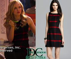 """Dove (as Liv) wore this EXACT dress in Liv & Maddie""""Song-A-Rooney""""Alice + OliviaJolie Plaid Leather Side DressPrice: $290 at My Theresa"""
