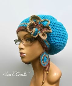 Hot Blue/Turquoise Beige and Earth tones Slouch hat/dreadlock hat with drawstring and free crochet earrings and detachable flower clip/ by ScarFanatic on Etsy