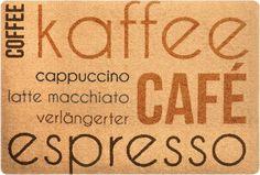 DECO-MAT │ KAFFEE INTERNATIONAL / BEIGE │ Rutschfeste Fussmatte / Türmatte 40 x 60 cm ohne Rand für den Innenbereich… Latte Macchiato, Kaffee, Carpet Design, Latte