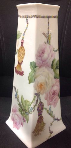 Rose Vase with Decals designed by Cherryl and painted by Cherryl, too