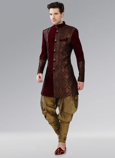 Buy Cbazar Maroon Brocade Indowestern Patiala Style Sherwani online in India at best price.Maroon benarasi indowestern sherwani with zari weaving foliage patterns all over the sherwani and fancy Engagement Dress For Groom, Wedding Dress Men, Engagement Dresses, Indian Wedding Outfits, Wedding Suits, Wedding Groom, Mens Sherwani, Wedding Sherwani, Indian Men Fashion