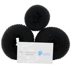 Shells 3PCS Black Round Hairdressing Tool Hair Former Donut Doughnut Ring Styling Mesh Chignon Bun Maker