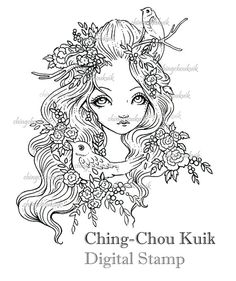 Spring Banquet- Digital Stamp Instant Download / Fantasy Flower Flora Bird Lady Girl Art by Ching-Chou Kuik