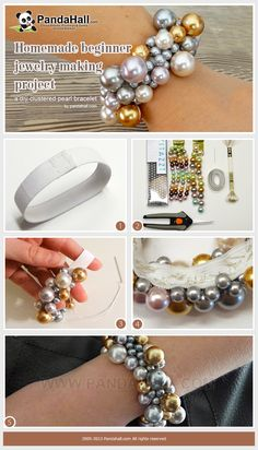 Homemade beginner jewelry making project-a diy clustered pearl bracelet