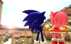 ''I'm glad I got to spend the day with you, Amy'' by Nictrain123 on DeviantArt Sonic And Amy, Sonic Boom, Sonic The Hedgehog, Amy Rose, Angel, Fan Art, Deviantart, Day, Exploring