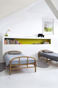 Simple, Shared room- I love the bright shelf paired with the green poster...