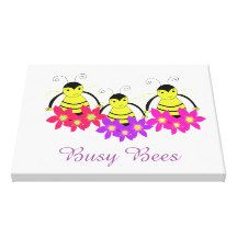 Whimsical Busy Bees Canvas Print #bees #art #canvas