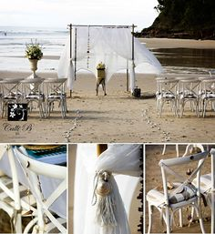 a bigger one with four posts and some cross beams - is this kind of what you were thinking about in terms of layout of chairs, etc.?  CalliB-BeachThemeWedding1