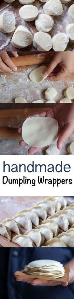 Homemade dumpling wrappers for water boiled dumplings, steamed dumplings or potstickers - food_drink Steamed Dumplings, Homemade Dumplings, Chinese Dumplings, Steamed Buns, Asian Recipes, New Recipes, Cooking Recipes, Recipies, Chinese Recipes