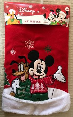 Disney 48 Christmas Tree Skirt Mickey Mouse Pluto Red White Holiday Decor New