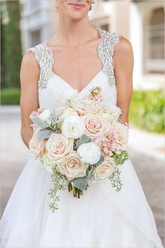 Pink, white and green wedding bouquet. #elegantwedding